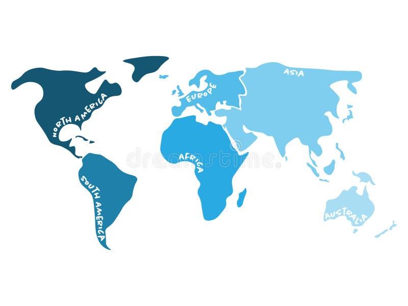 Mehrfarbige Weltkarte geteilt zu sechs Kontinenten in s - Nordamerika, Südamerika, Afrika, Europa, Asien und Australien stock abbildung