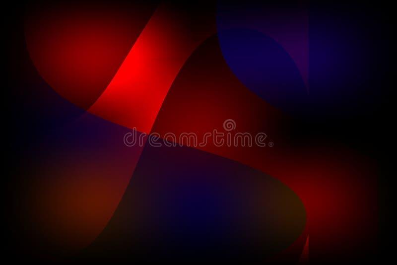 Mehrfarbiger gewellter schattierter Hintergrund des abstrakten Vektors mit hellen Farblichteffekten, Vektorillustration stock abbildung