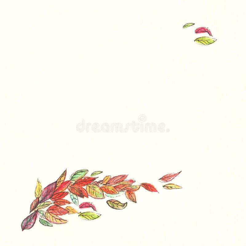 Mehrfarbiger Herbstlaub des quadratischen Zeichnungsfliegens im Wind gezeichnet mit Aquarellbleistiftkarte auf dem hellgelben Hin lizenzfreie abbildung