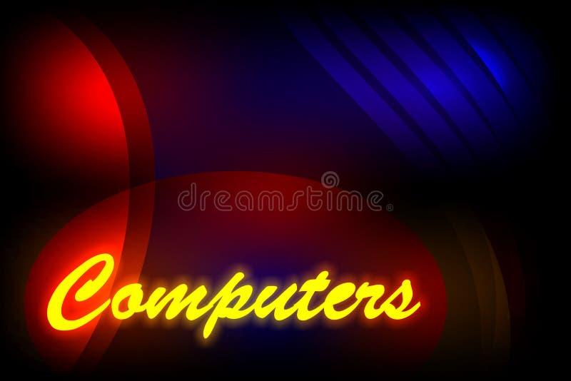 Mehrfarbiger schattierter Hintergrund des abstrakten Vektors mit Benennungscomputern und Lichteffekt, Vektorillustration stock abbildung