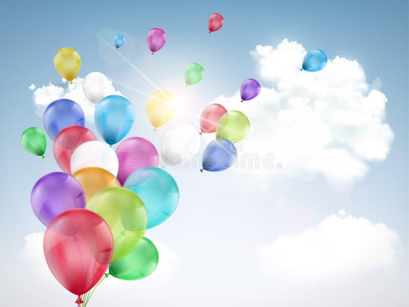 Mehrfarbiges Ballonfliegen lizenzfreie abbildung