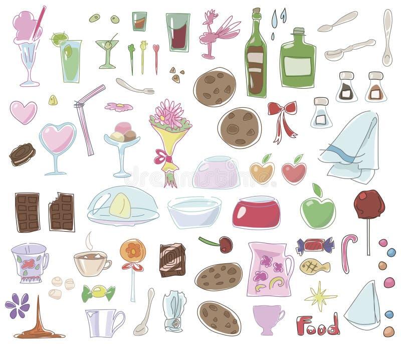 Mehrfarbiges Lebensmittel, Teller, Nachtische lokalisiert auf weißem Hintergrundsatz vektor abbildung