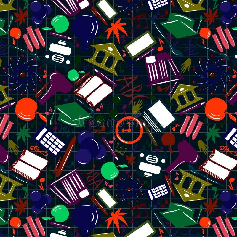 Mehrfarbiges nahtloses Muster von den Ikonen eines Vektors Willkommen zurück zu Schule vektor abbildung