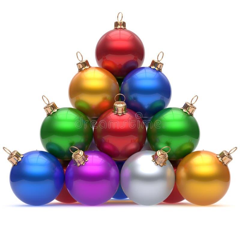 Mehrfarbiges Rot des Pyramidenweihnachtsballs auf dem Spitzensilvesterabend vektor abbildung