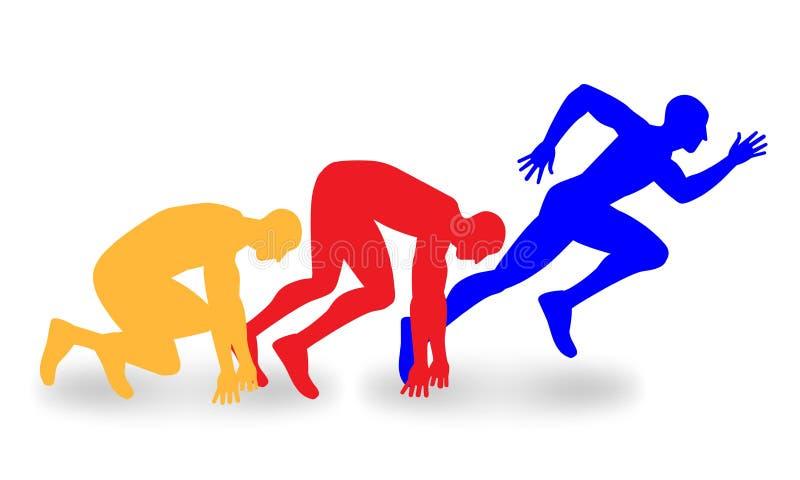 Mehrfarbiges Schattenbild drei des Anstellens von Läufern stock abbildung