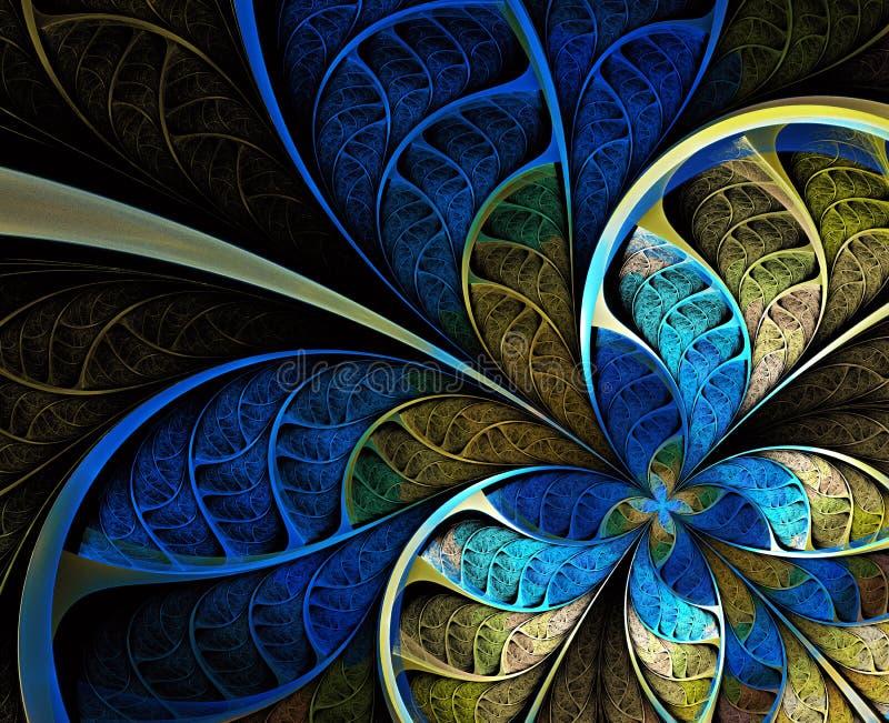 Mehrfarbiges symmetrisches Fractalmuster als Blume lizenzfreie abbildung