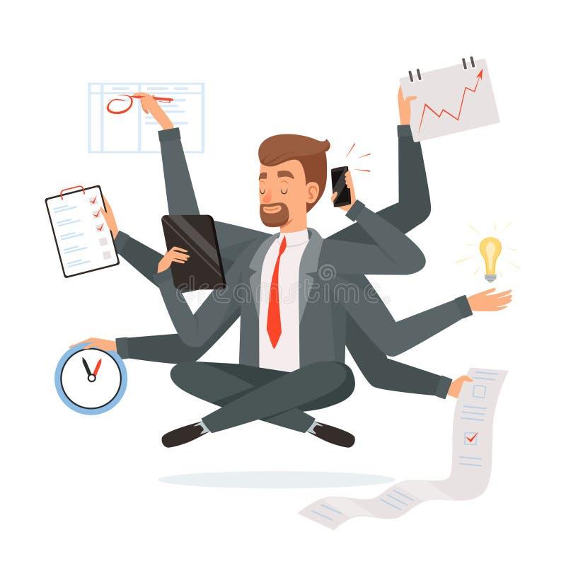 Mehrprozeßgeschäftsmann Büroangestellter, der viel Arbeit mit den Händen schreiben macht, Leseyoga-Meditationsvektor nennend lizenzfreie abbildung