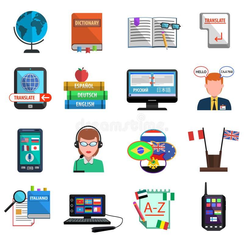 Mehrsprachiger Übersetzer-Colorful Flat Icon-Satz stock abbildung
