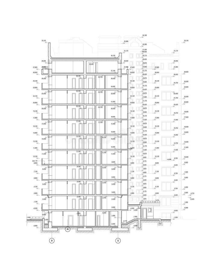 Mehrstöckiger errichtender Abschnitt, ausführliche architektonische technische Zeichnung, Vektorplan lizenzfreie abbildung