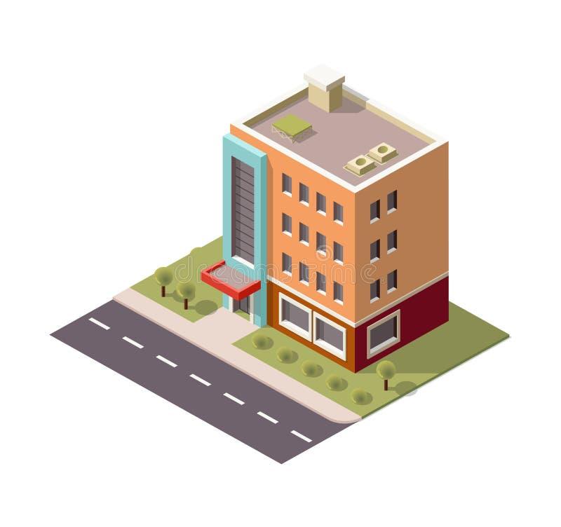 Mehrstöckiges Gebäude, Wolkenkratzer in der isometrischen Ansicht, isometrisches Gebäude mit Schatten lizenzfreie abbildung