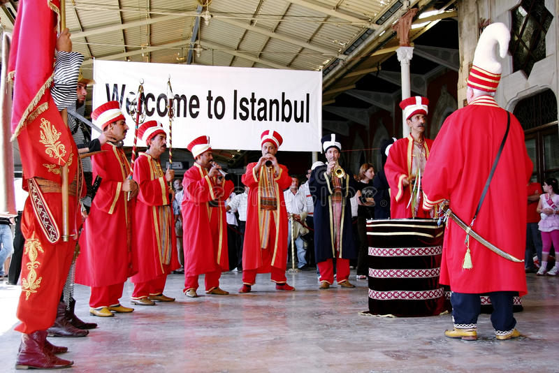 Mehter - bande de Janissary des musiciens images stock