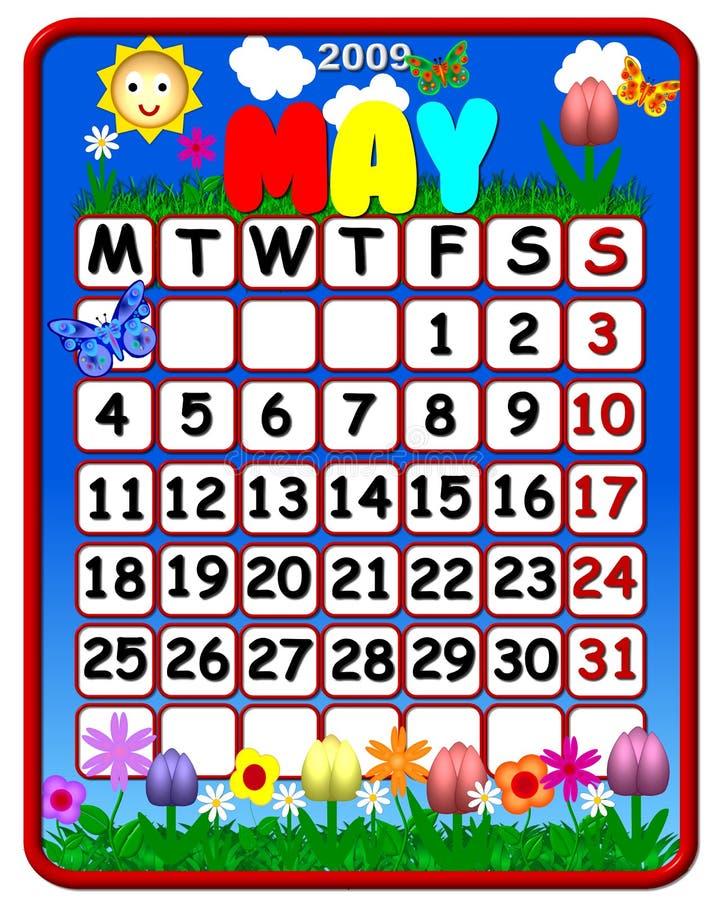 Mei 2009 Kalender stock illustratie