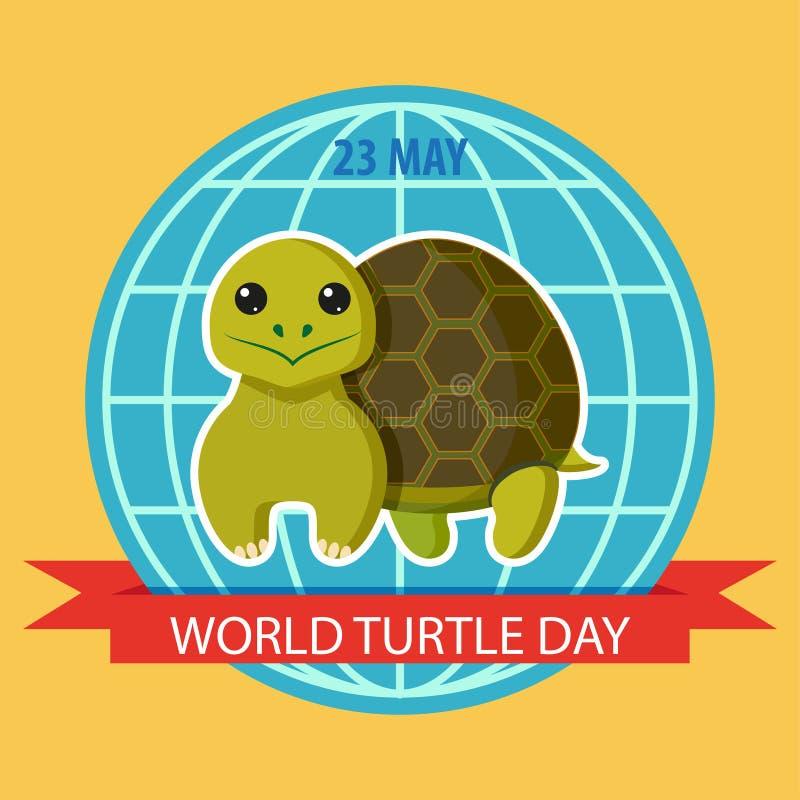 23 mei De Dag van de wereldschildpad Affiche met schildpad royalty-vrije illustratie