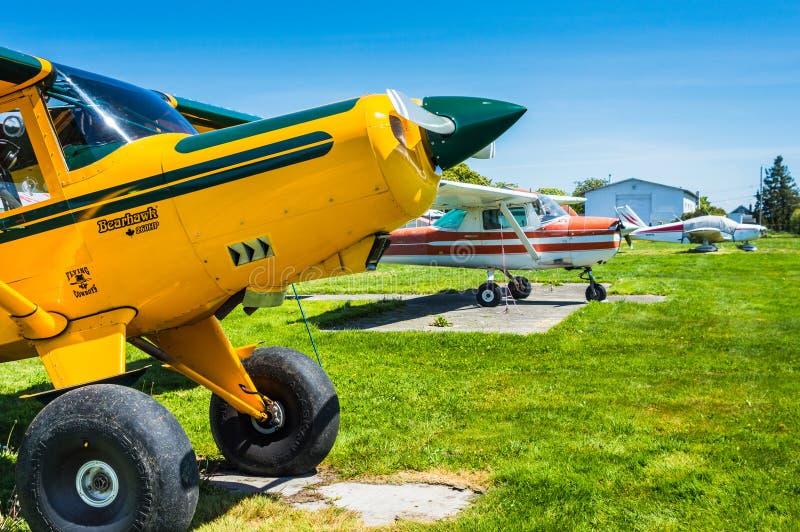 7 mei, 2019 - Delta Brits Colombia: Het enige vliegtuig van Bearhawk 250HP van de motorsteun dat bij Deltaerfenis Airpark wordt g royalty-vrije stock fotografie