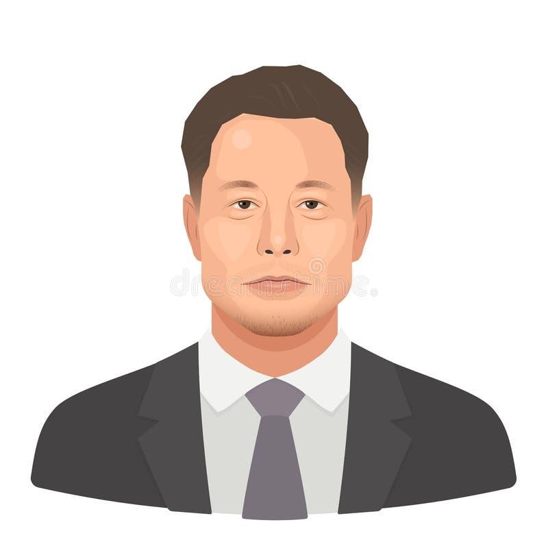 Mei, 2018 Elon Reeve Musk - de beroemde ondernemer en de stichter, rijkste zakenman Vector vlak geïsoleerd portret vector illustratie