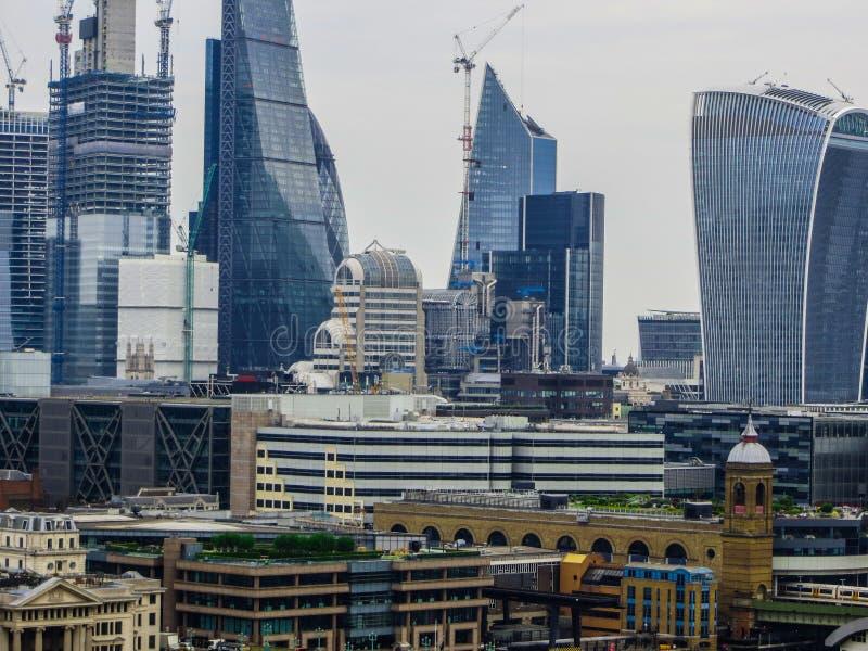20 mei, 2018, Engeland Een panorama van Londen van de hoogte van het observatiedek van het Museum van Modern Art. stock fotografie