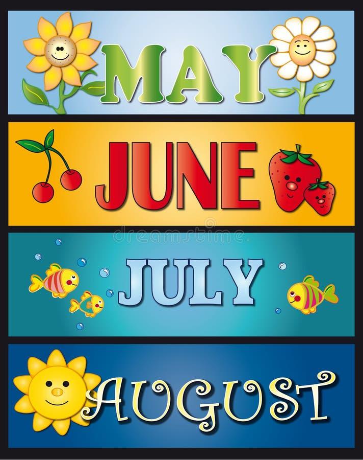 Mei juni juli augustus royalty-vrije illustratie