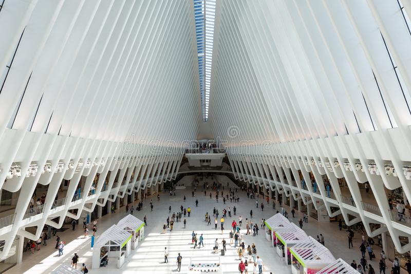 26 mei, 2018 - New York, Verenigde Staten: Westfieldworld trade center, de Stad van New York, Verenigde Staten stock foto