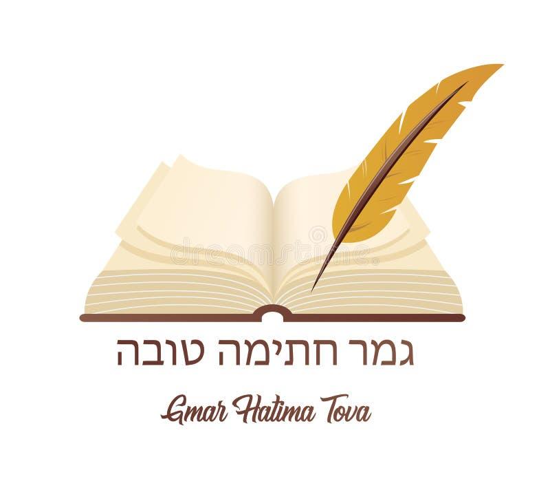 Mei wordt u ingeschreven in het Boek van het Leven voor Goed in Hebreeër Oud boek een symbool van Joodse vakantie Yom Kipur royalty-vrije illustratie