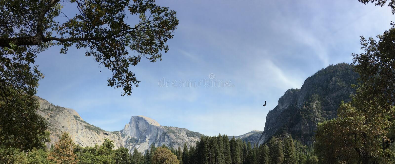 Meia abóbada no horizonte no parque nacional de Yosemite imagem de stock