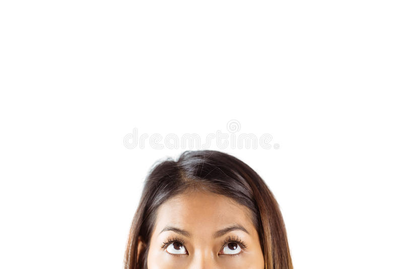 Meia cara da mulher asiática bonita foto de stock