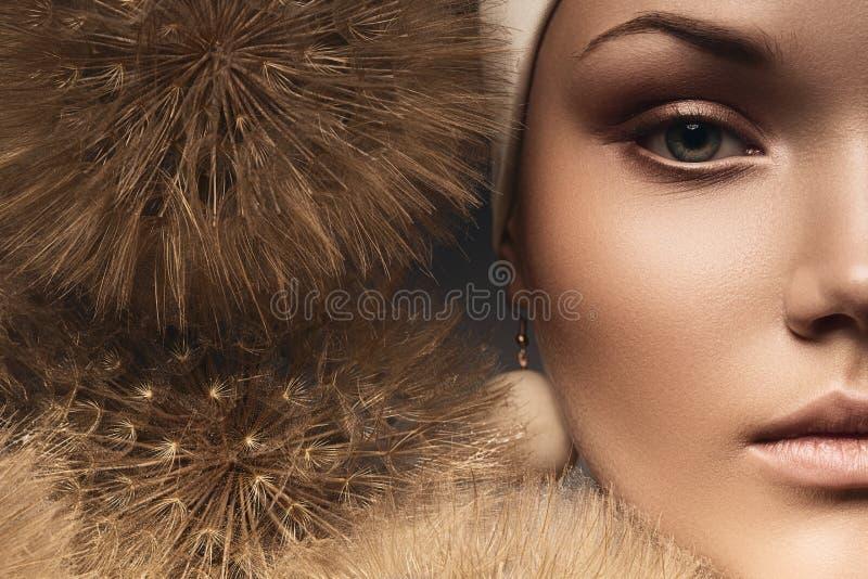 Meia cara da mulher com dentes-de-leão imagens de stock royalty free
