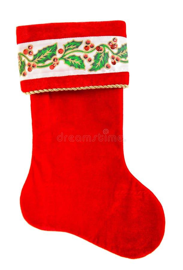 Meia do Epifany peúga vermelha para os presentes de Santa isolados no branco imagens de stock royalty free