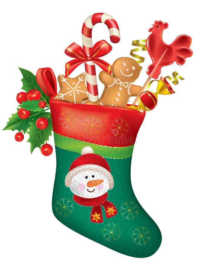 Meia do Natal com doces ilustração do vetor