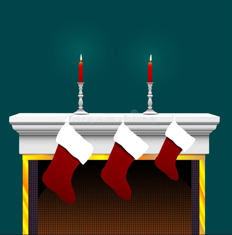 Meia do Natal na chaminé ilustração royalty free