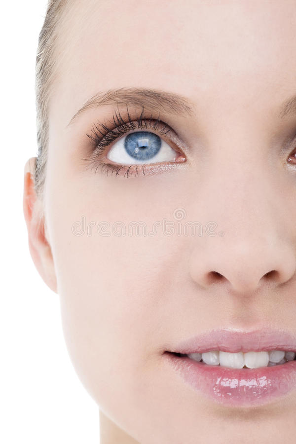 Meia face da mulher, close-up fotografia de stock royalty free