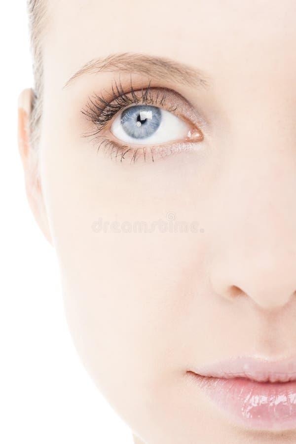 Meia face da mulher, close-up imagem de stock royalty free
