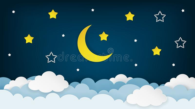 Meia lua, estrelas e nuvens no fundo escuro do céu noturno Arte de papel Fundo da cena da noite Vetor ilustração stock