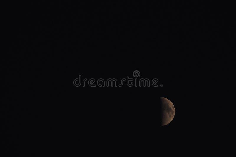 Meia lua na noite fotografia de stock