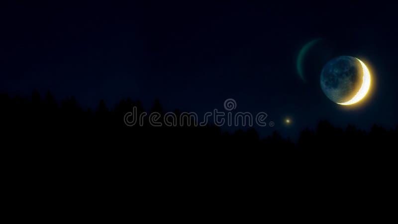 A meia lua no céu da estrela com árvores mostradas em silhueta fotografia de stock royalty free