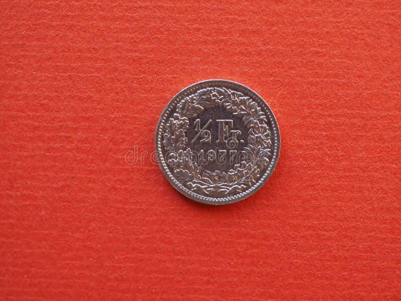 Meia moeda do franco, Suíça imagem de stock royalty free