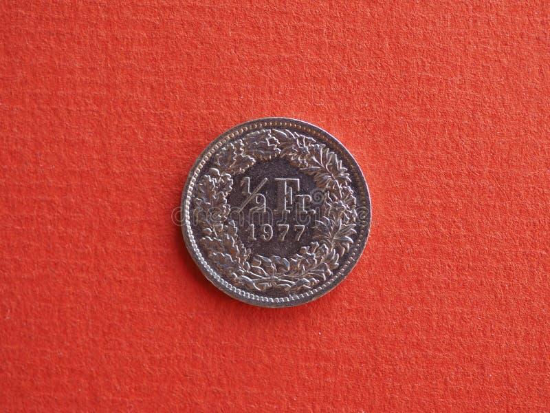 Meia moeda do franco, Suíça foto de stock