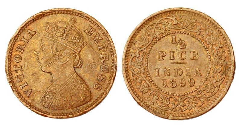 Meia moeda indiana velha de Pice do regime colonial imagem de stock