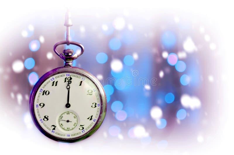 Meia-noite impressionante do relógio de bolso do vintage imagem de stock