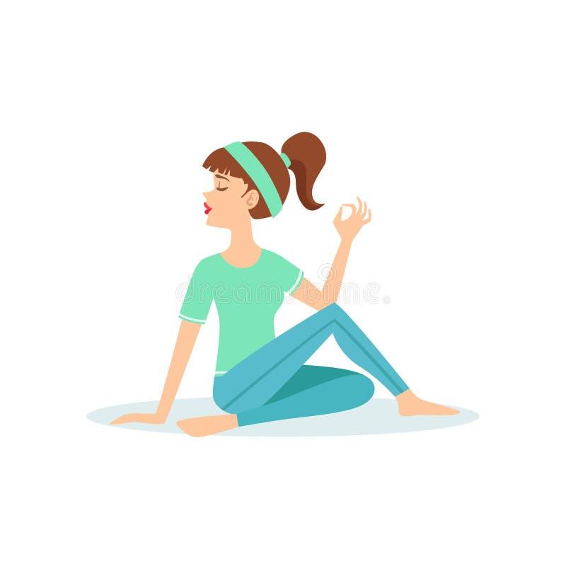 Meia pose da ioga de Ardha Matsyendrasana da torção demonstrada pelo iogue dos desenhos animados da menina com o rabo de cavalo n ilustração do vetor