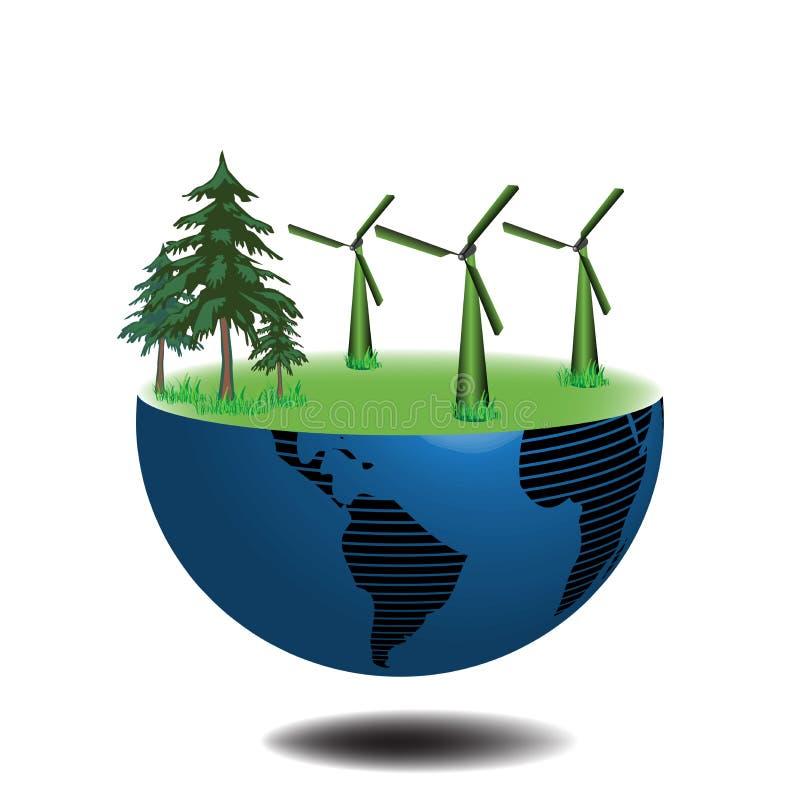 Meia terra com turbinas de vento ilustração do vetor