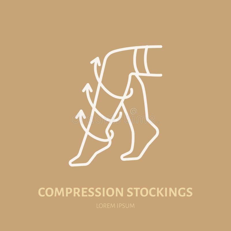 Meias ícone da compressão, linha logotipo Sinal liso para a loja do equipamento da reabilitação da cirurgia ilustração royalty free
