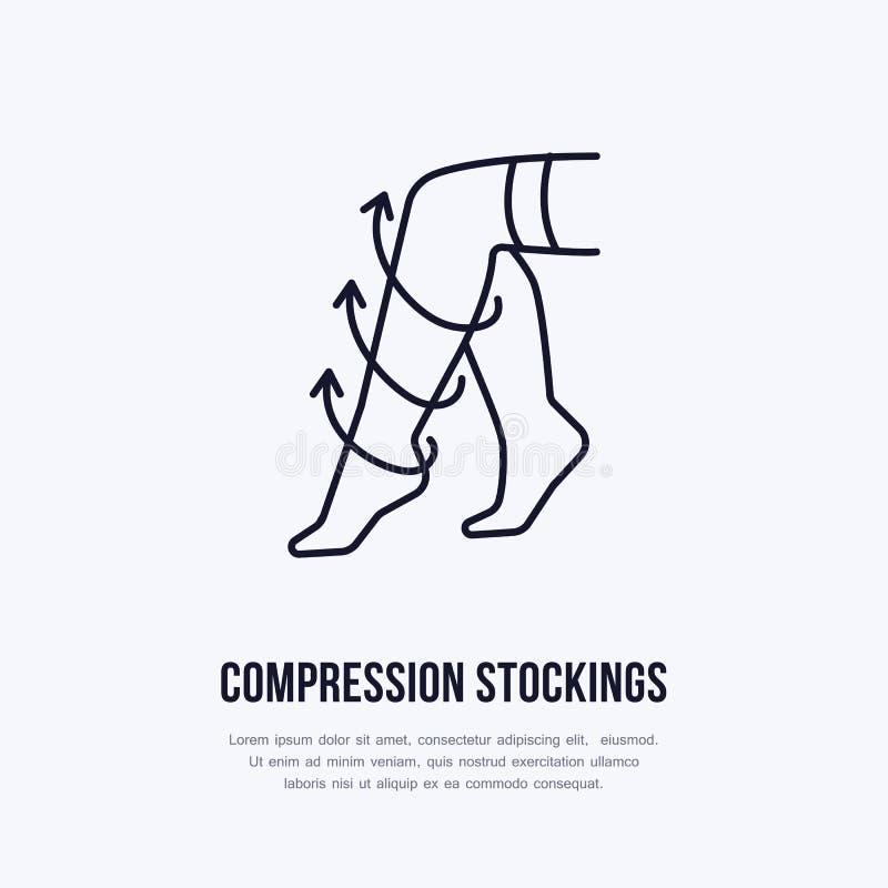 Meias ícone da compressão, linha logotipo Sinal liso para a loja do equipamento da reabilitação da cirurgia ilustração stock
