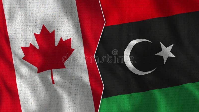 Meias bandeiras de Canadá e de Líbia junto imagem de stock