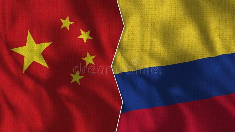 Meias bandeiras de China e de Colômbia junto ilustração do vetor