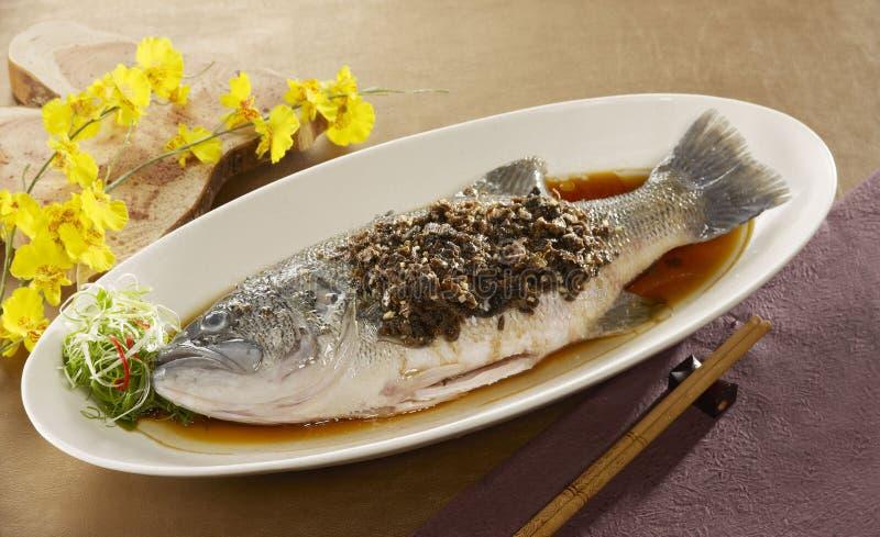 Meicai dämpfte Süßwasserfische, die Barsch mit Soße auf Weiß flechten stockbild