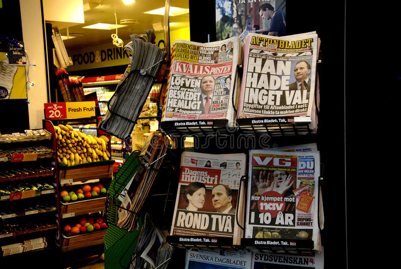 MEIDA SUECO _SWEDEN EN crisis POLÍTICA foto de archivo libre de regalías