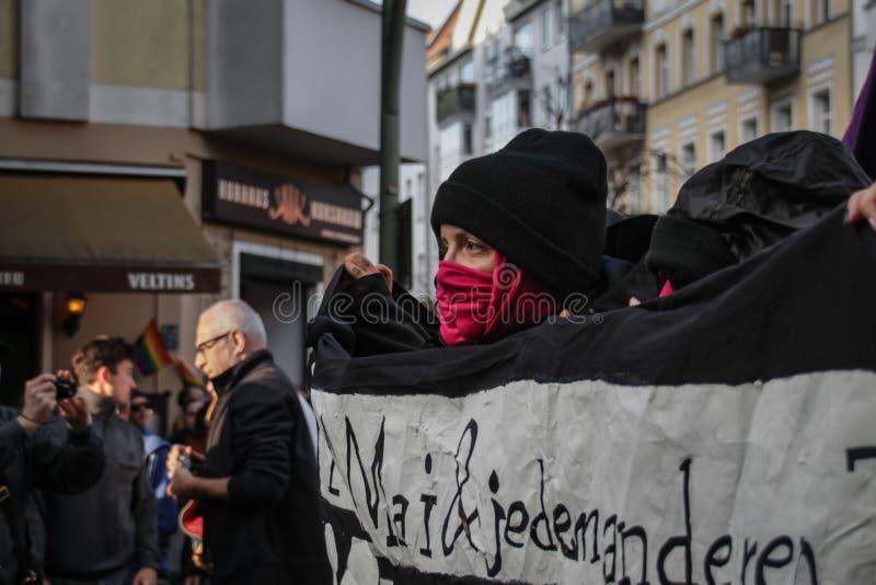 Meidagprotest 2019 in Berlin Friedrichshain royalty-vrije stock afbeelding
