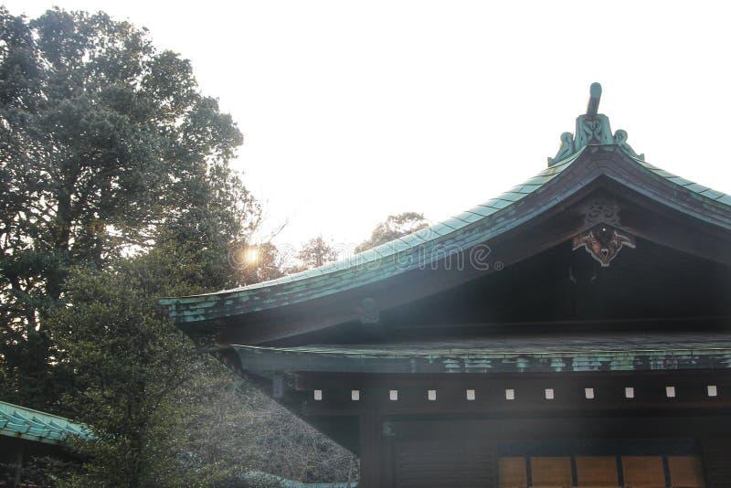 meiji寺庙的日本亭子,东京,日本 图库摄影
