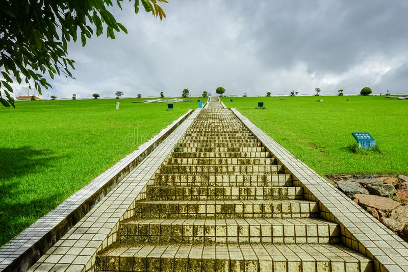 Meilin reservoir, shenzhen, steps on the dam royalty free stock photo