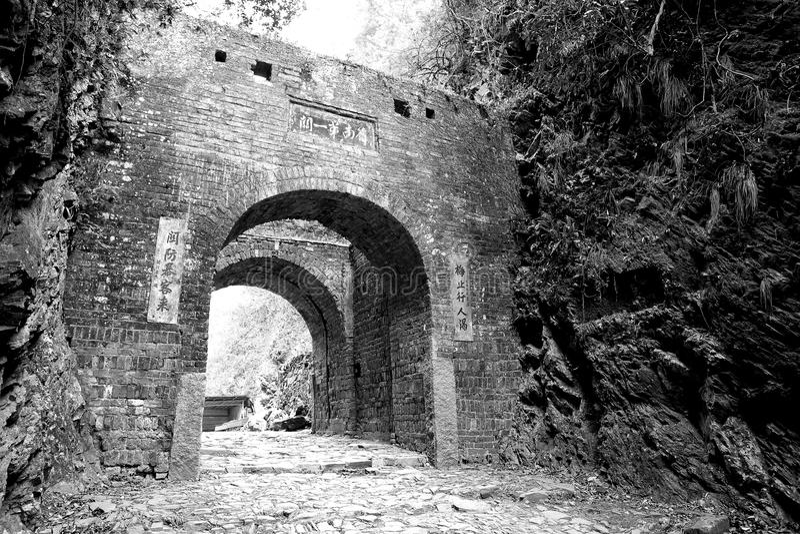 Meiling antyczna past droga i brama, zdjęcia royalty free
